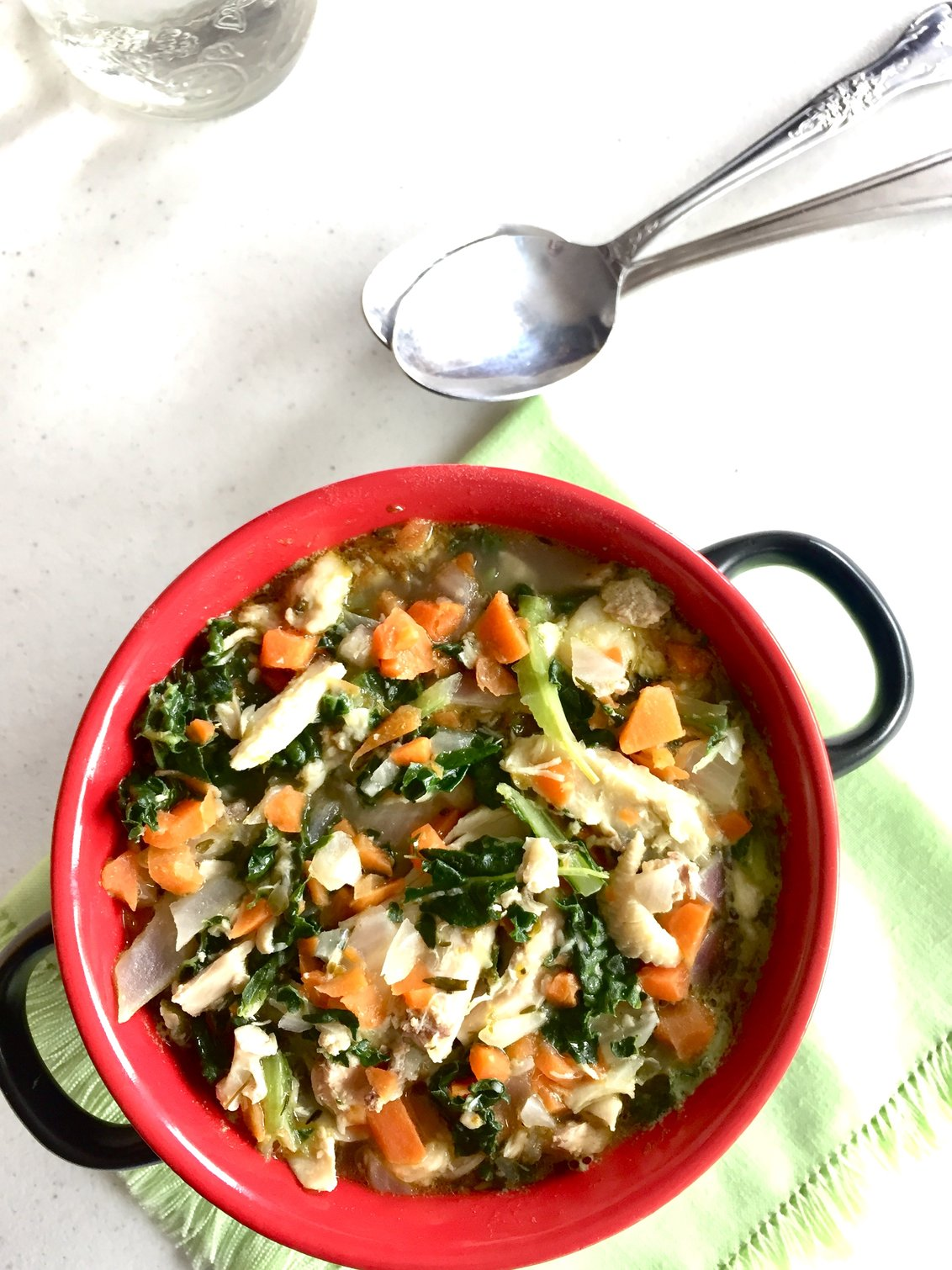 Creamy Kale and Chicken Soup (Vegan Option)