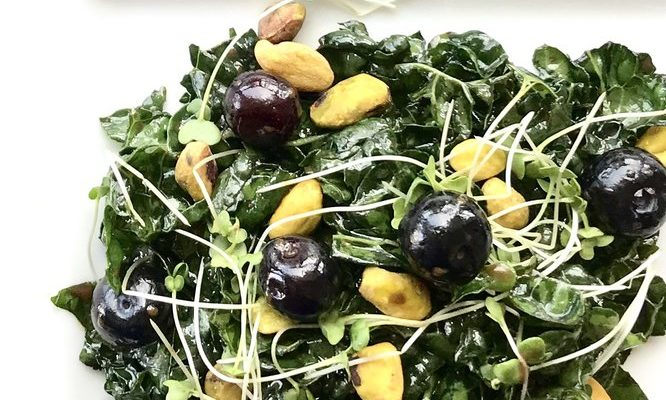 Blueberry and Pistachio Kale Salad with Chocolate Balsamic Vinaigrette